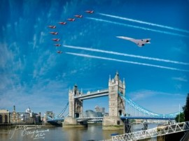 Signed Concorde and Red Arrows over Tower Bridge - 16x12