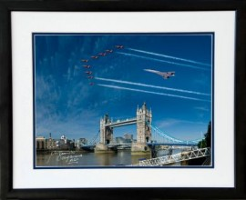 Concorde & Red Arrows flying over London Bridge Queens Jubliee Fly Pass