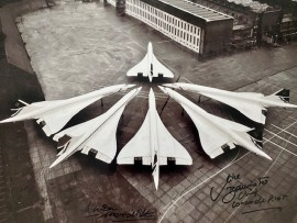 Six Concordes at LHR Boxing Day 1985 Signed 16x12 by Mike Bannister and Adrian Meredith